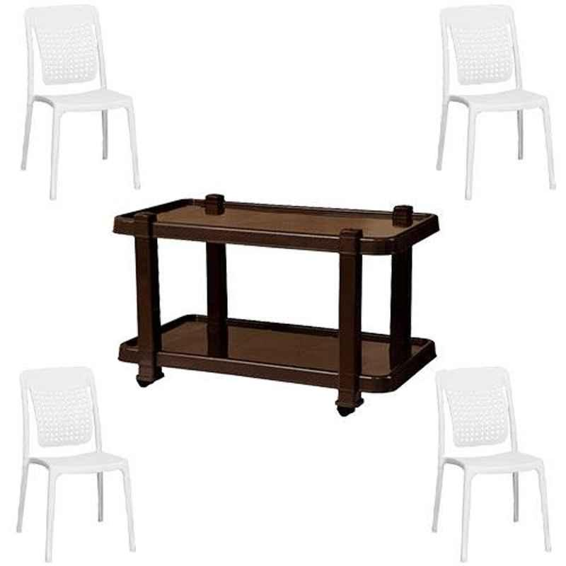 Italica 4 Pcs Polypropylene White Spine Care Chair & Nut Brown Table with Wheels Set, 2109-4/9509