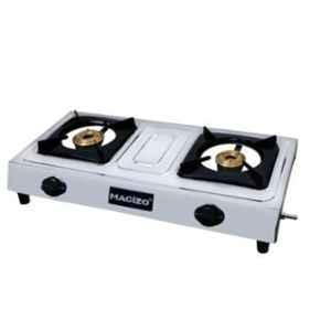 Macizo Stainless Steel 2 Burner Silver Mirror Finish Manual Ignition Gas Stove