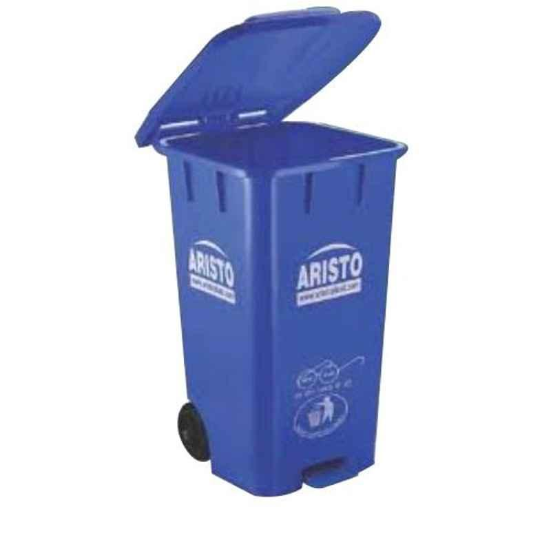 Aristo 65L 456x405x720mm HDPE Blue Center Foot Pedal Dustbin with 2 Wheels (Pack of 2)