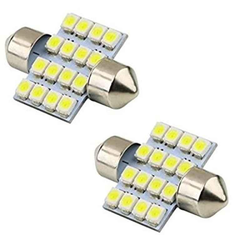 AOW 2X16 SMD LED Interior Car Roof Light/Dome Light for -Mahindra Quanto(White) Pack of 2