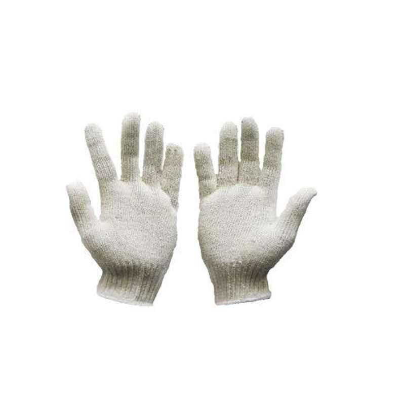 SRTL 40 g White Cotton Knitted Hand Gloves (Pack of 50)