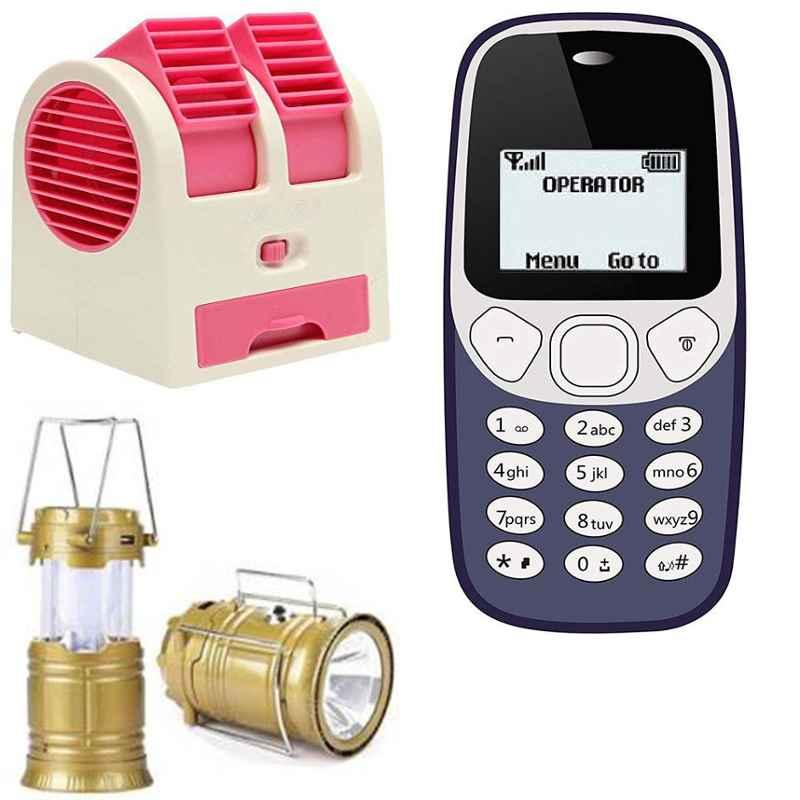 Combo of Homepro LED Solar Emergency Lantern with Homepro Mini Portable Air Cooler & I kall K71 1.4Inches Mobile Phone