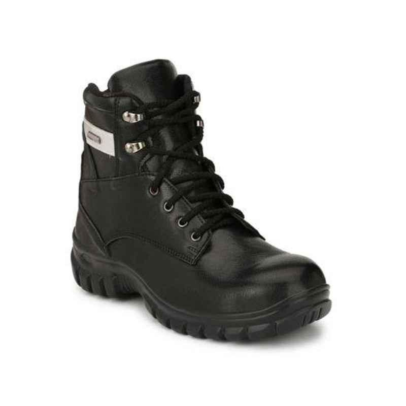 Wonker 6294 Leather Steel Toe Black Long Safety Boots, Size: 6