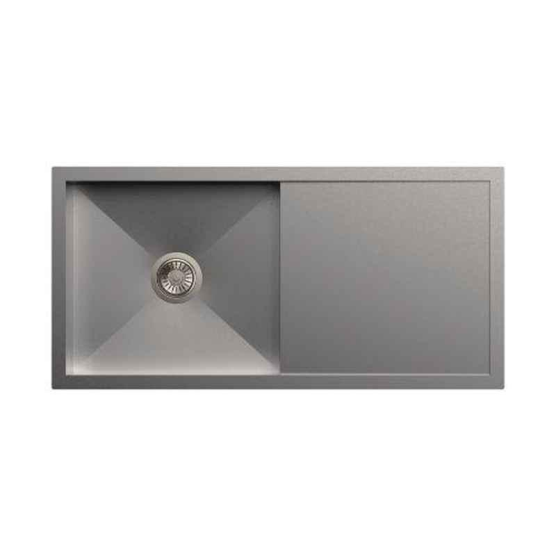 Carysil Quadro Single Bowl Stainless Steel Matt Finish Kitchen Sink with Drainer, Size: 40x20x8 inch