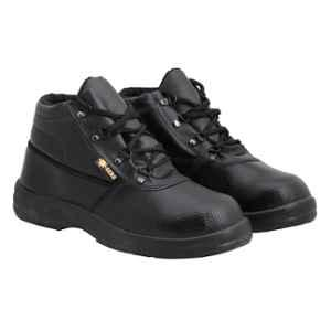 Indcare Aero Leather High Ankle Steel Toe Black Safety Shoes, Size: 7