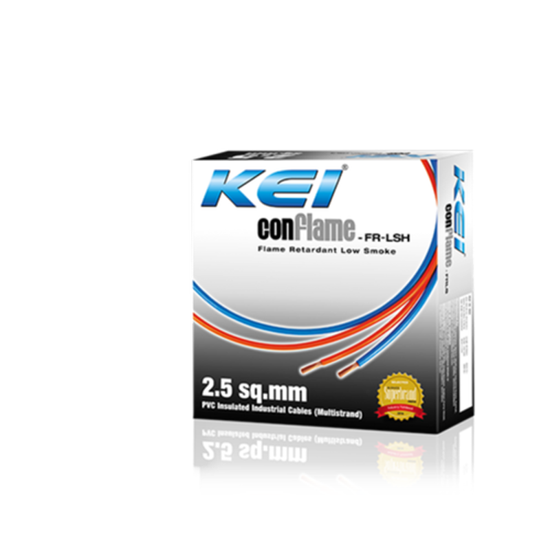 KEI 2.5 Sqmm Single Core Conflame FRLSH Blue Copper Unsheathed Flexible Cable, Length: 90 m