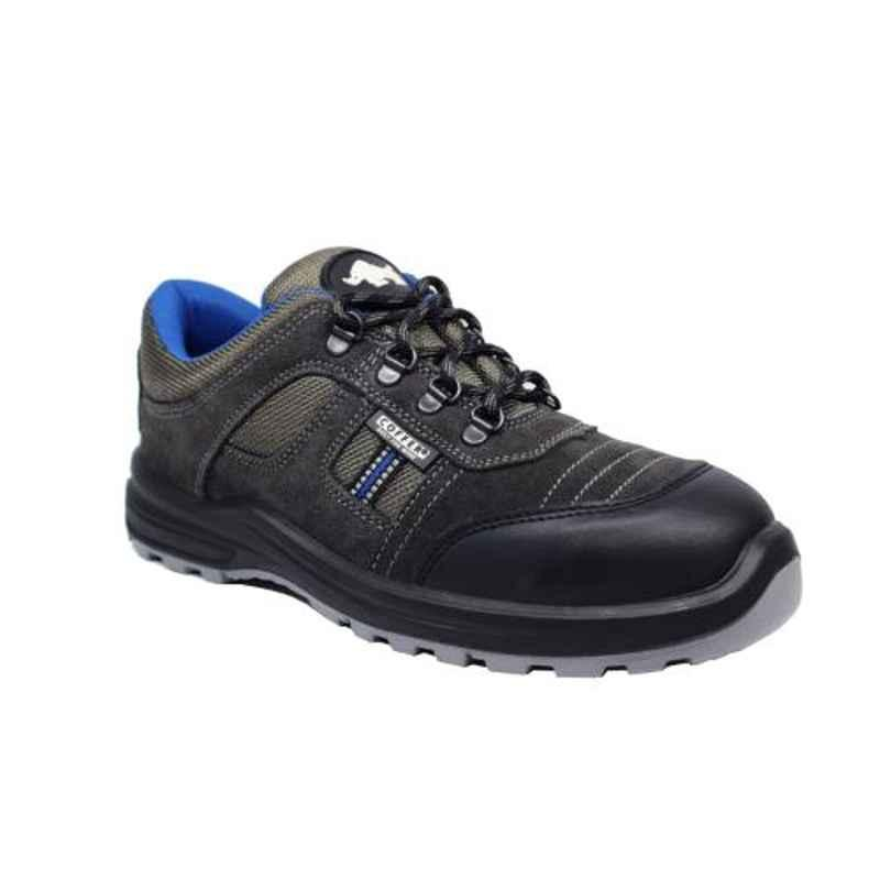 Coffer Safety CS-1007 Leather Steel Toe Black Safety Shoes, Size: 9