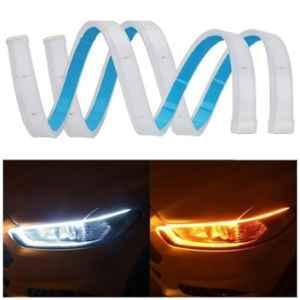 Viva City 2 Pcs 12V 60cm Daytime Running Turn Signal White & Yellow DRL Lamp LED Fancy Strip Light For All Cars