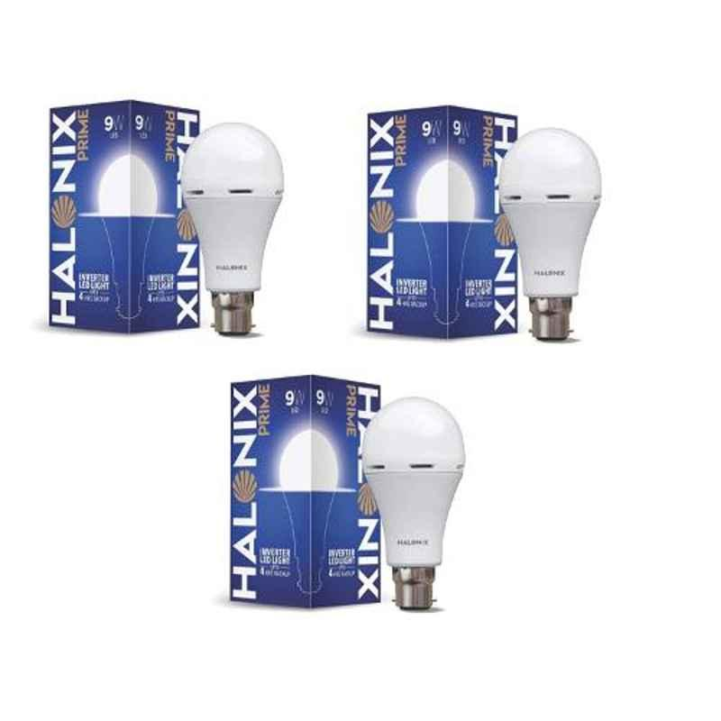 Halonix Prime 9W B22 Cool Day White Rechargeable Inverter LED Bulb, HLNX-INV-9WB22 (Pack of 3)