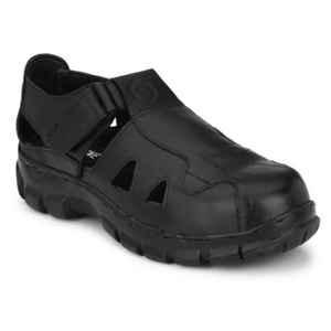 Kavacha R506 Leather Steel Toe Black Sandal, Size: 8