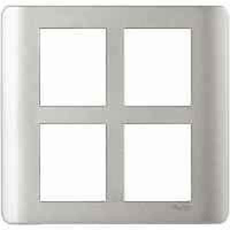 Schneider Zencelo 8 Module Satin Silver Grid & Cover Frame, IN8408SC(SA) (Pack of 5)