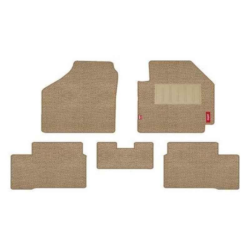 Elegant Popcorn 5 Pcs Polypropylene & Non Woven Beige Carpet Car Floor Mat Set for Nissan Kicks Xld