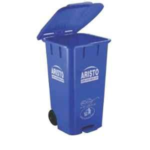 Aristo 65L 456x405x720mm HDPE Blue Center Foot Pedal Dustbin with 2 Wheels