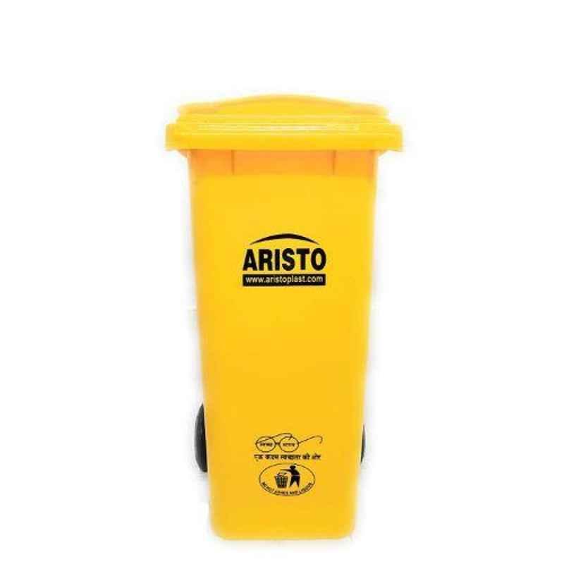 Aristo 120L Plastic Yellow Dustbin with Wheel