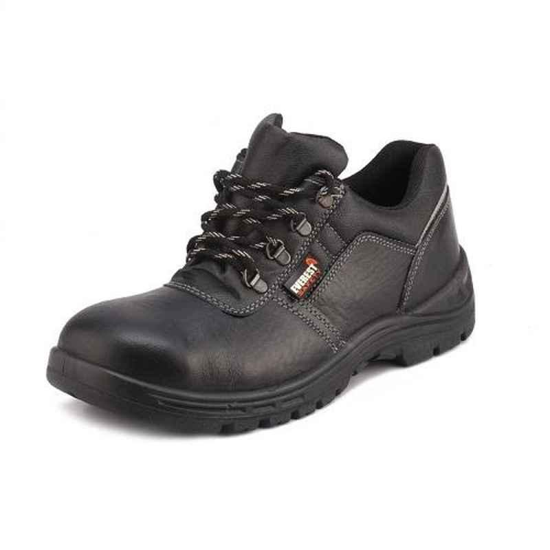 Everest EVE-106A Low Ankle Leather Steel Toe Single Density Black Safety Shoes, Size: 10