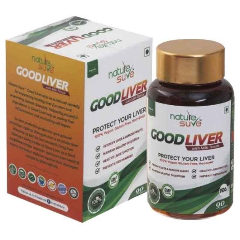 Nature Sure 90 Pcs Good Liver Capsules with Milk Thistle for Natural Protection Against Fatty Liver