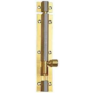 Smart Shophar 6 inch Brass Gold Silver Hex Tower Bolt, SHA10TW-HEX-GS06-P1
