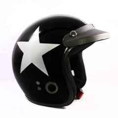 Habsolite HB-ESBG Ecco Star Open Face Black & Grey Helmet With Detachable Cap & Adjustable Strap, Size: Medium