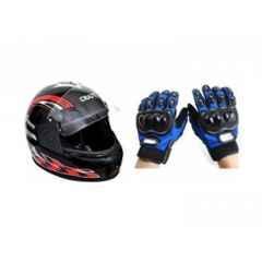 Evergreen Combo of Stylish Helmet & Blue Pro Biker Gloves