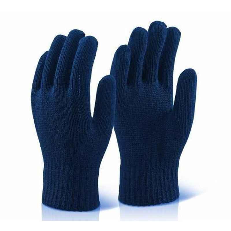Shree Rang 60g Blue Cotton Knitted Gloves, KH18