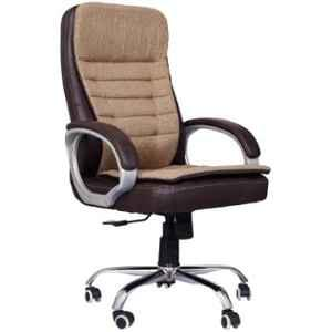 MRC Maze Brown & Cream Leather & Suede High Back Revolving Office Chair