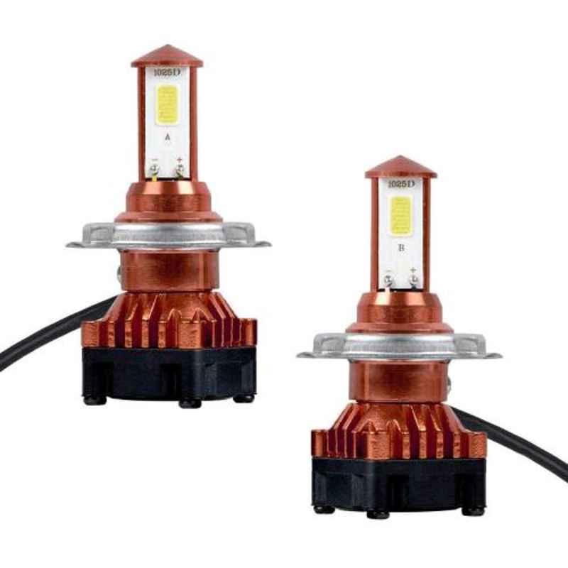 AllExtreme EXH4L2P2 2 Pcs 80W Car LED H4 Headlight Bulb Set for Front Fog Headlamp