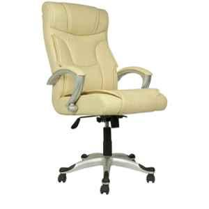 Caddy PU Leatherette Light Yellow Adjustable Office Chair with Back Support, DM 114 (Pack of 2)