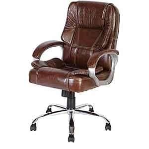 MRC Leather & Suede Brown Mid Back Revolving Chair, M164-MB