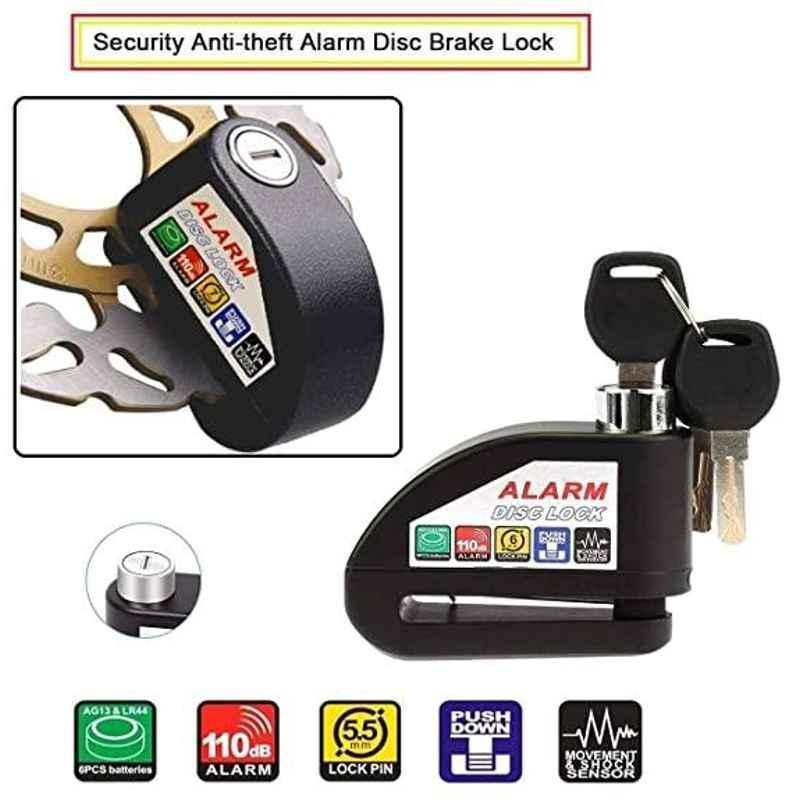 AOW Security Alarm Disk Lock Motorbike Bike Scooter Loud Disc Brake Lock Security Anti-Theft Alarm for Tvs Ntroq