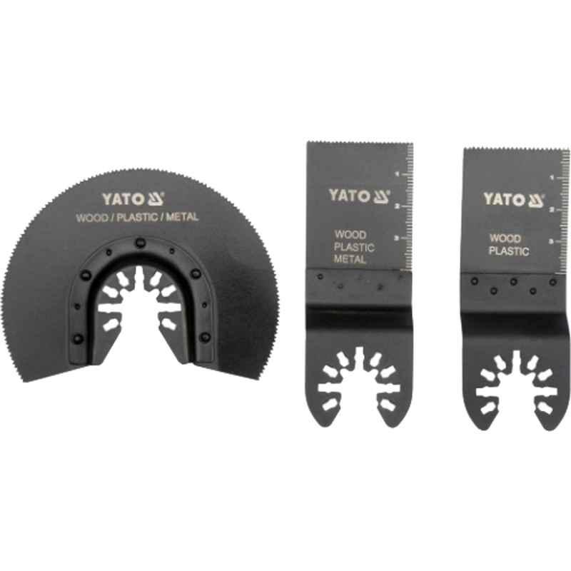 Yato 3 Pcs BIM, HCS & HSS Saw Blade Set for Multifunctional Oscillating Devices, YT-34691