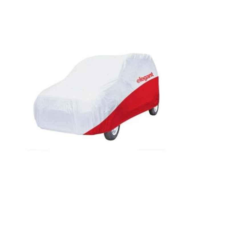 Elegant White & Red Water Resistant Car Body Cover for Tata Nano