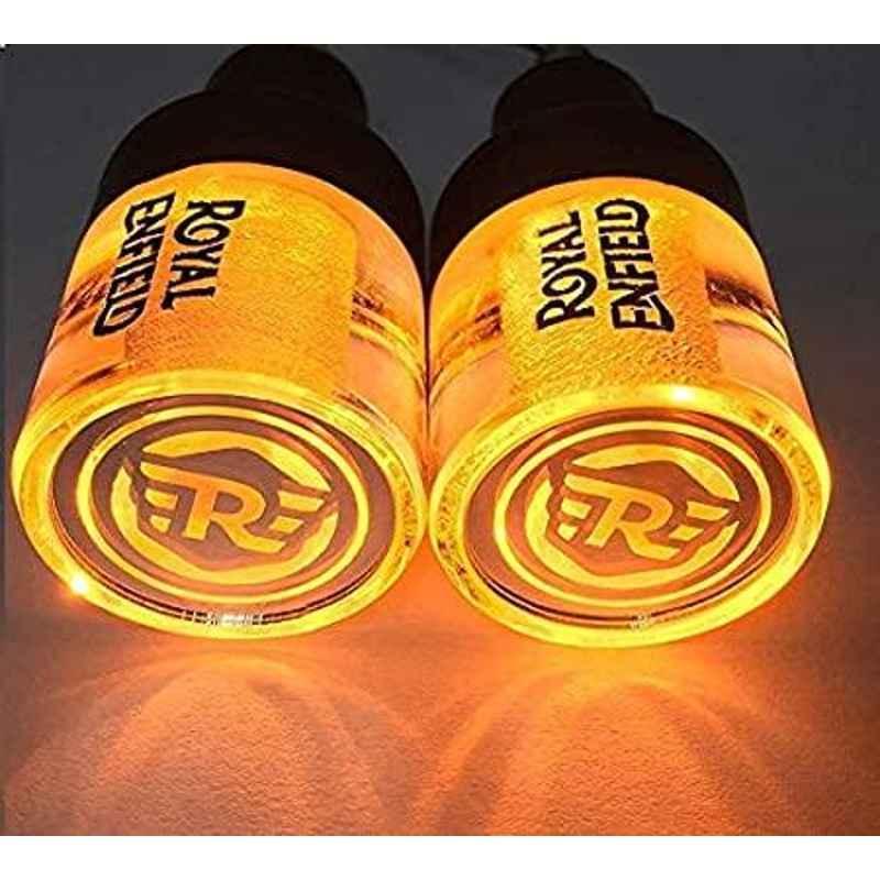 AOW Handle Bar End Dual Led Crystal Side (Orange) Indicator Lights for Royal Enfield Models K-6.13(Set of 2)