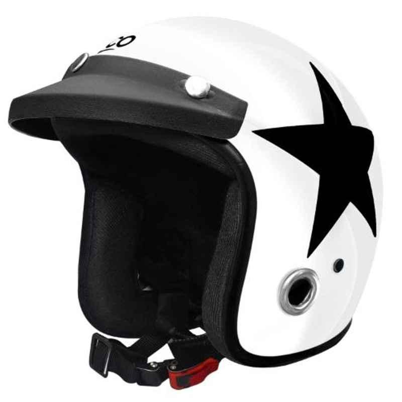Habsolite HB-ESW Ecco Star White Open Face Helmet with Detachable Cap & Adjustable Strap, Size: M
