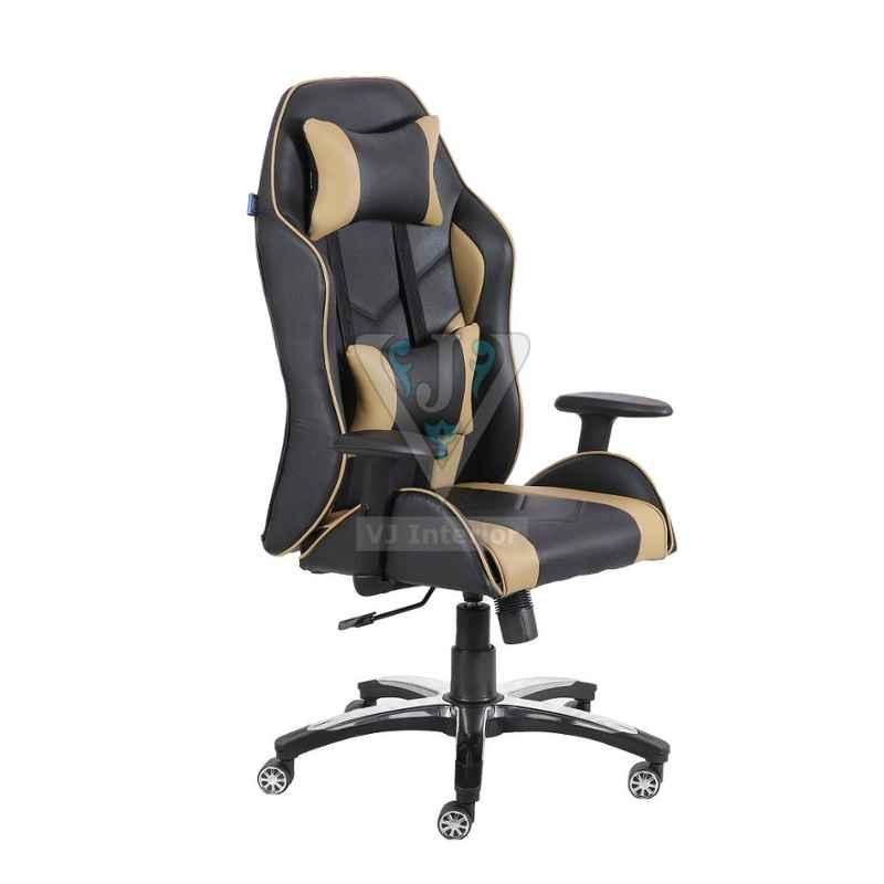 VJ Interior 21x19 inch Black & Cream Leatherette Gaming Any Time Chair, VJ-2004