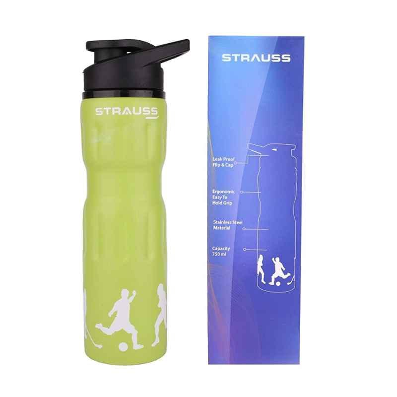 Strauss Steel 750ml Green Water Bottle, ST-1219