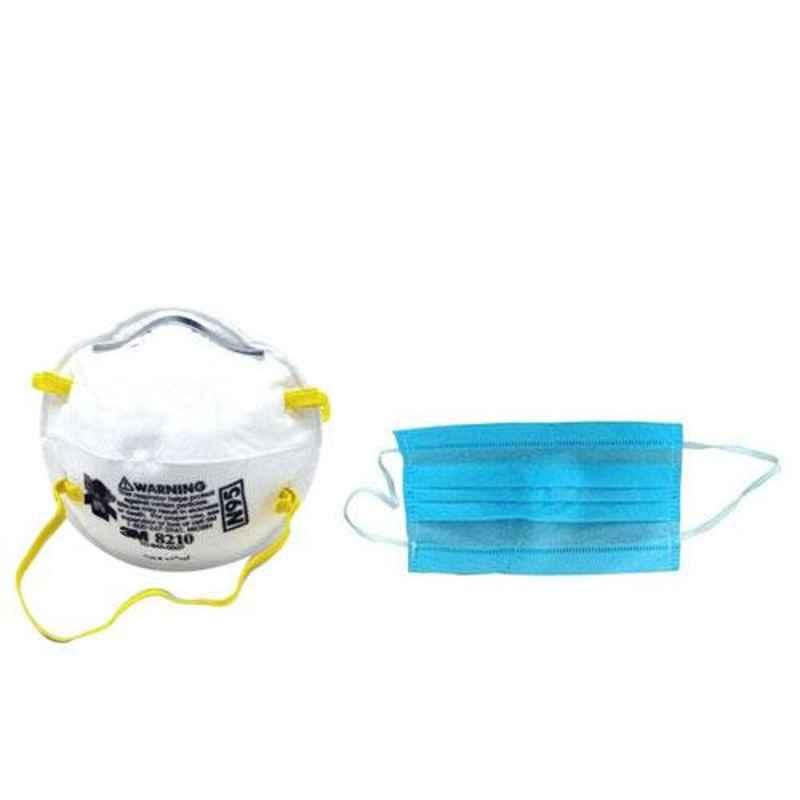 3M 8210 NIOSH N95 Particulate Respirator Mask (Pack of 2) & Generic 3 Ply Disposable Face Mask with Elastic Ear Loops (Pack of 100)