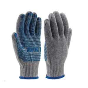 Udyogi Seamless Polyester Cotton PVC Dotted Grey & Blue Hand Gloves, Size: 9