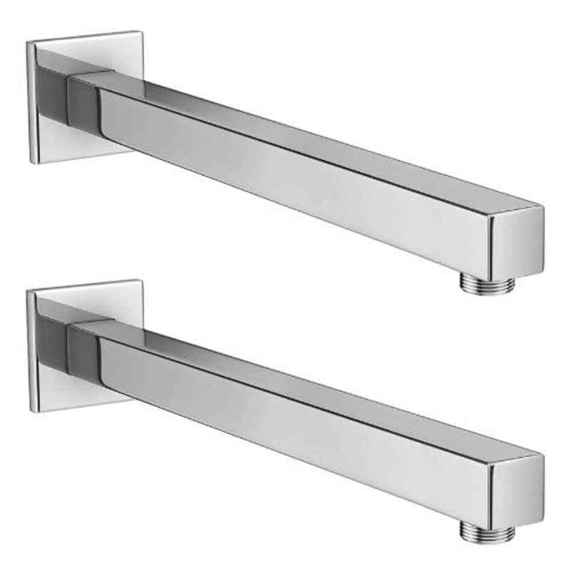 Drizzle 2 Pcs 18 inch Stainless Steel Chrome Finish Silver Square Shower Arm Set, A18SQARM2