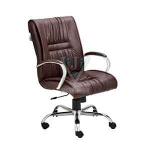 VJ Interior 18x19 inch Dark Brown Mid Back Revolving Executive Chair, VJ-1411