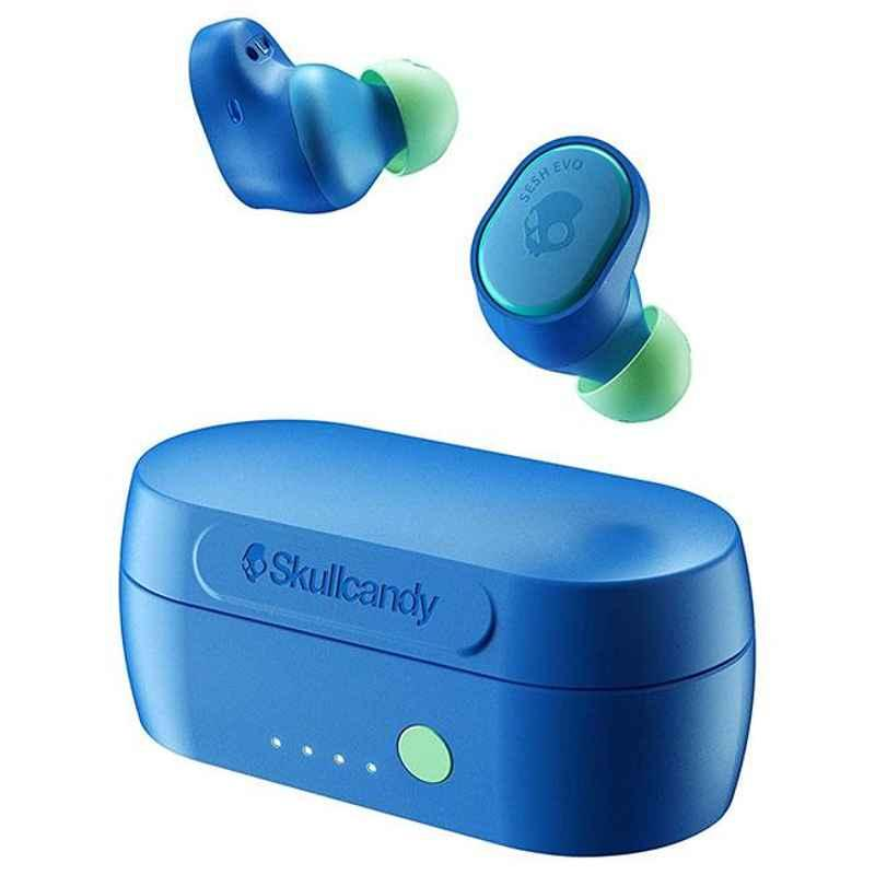 Skullcandy Sesh Evo True Curious Blue Bluetooth Earbuds with Mic, S2TVW-N892