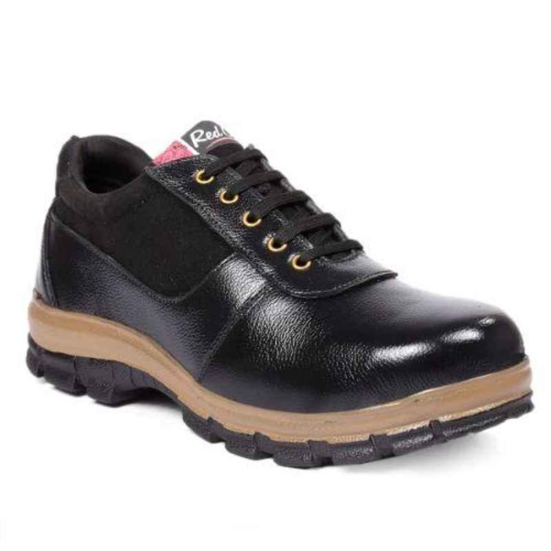 RED CAN SGE1166BLK Leather Low Ankle Steel Toe Black Safety Shoes, Size: 7