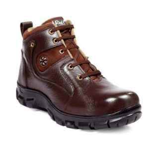 RED CAN SGE1163BRN Leather High Ankle Steel Toe Brown Safety Boots, Size: 8