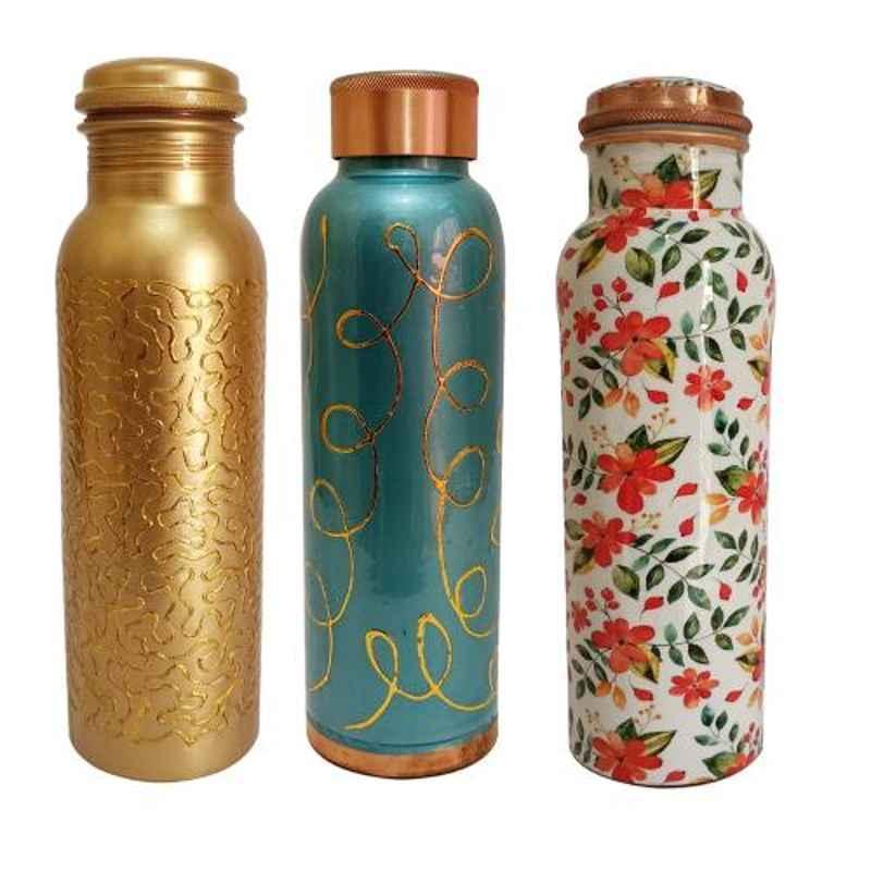 Healthchoice 1L Golden, Meena & Orange Copper Jointless Water Bottle (Pack of 3)