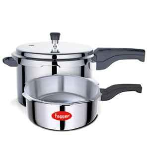 Fogger Combo of 5L & 3L Induction Base Aluminium Pressure Cooker with Single Outer Lid, SBI00116