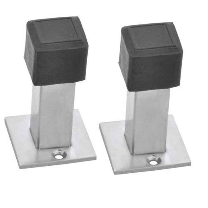 Nixnine Stainless Steel Back Silencer Door Stopper with Square Rubber Pad, SS_SQR_A-617_2PS (Pack of 2)