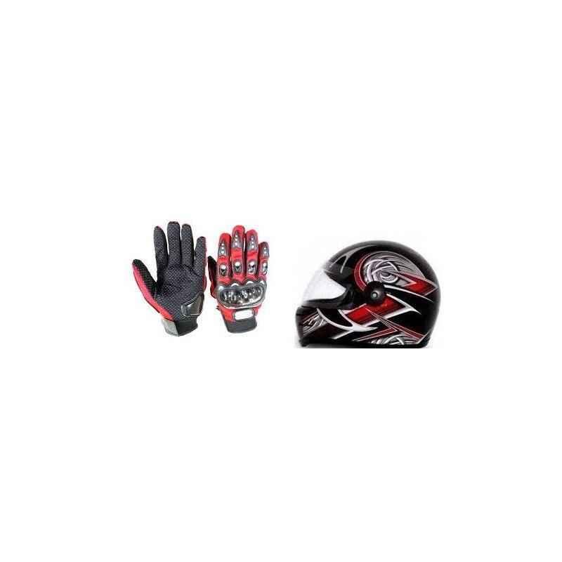 Evergreen Combo of Stylish Helmet & Red Pro Biker Gloves