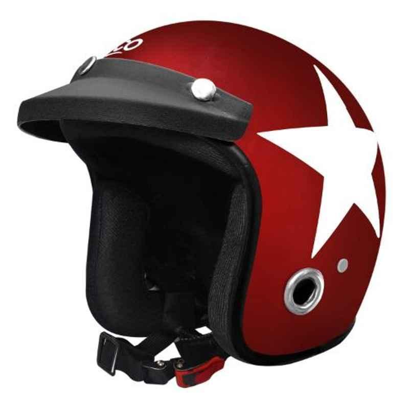 Habsolite HB-ESR Ecco Star Red Open Face Helmet with Detachable Cap & Adjustable Strap, Size: M