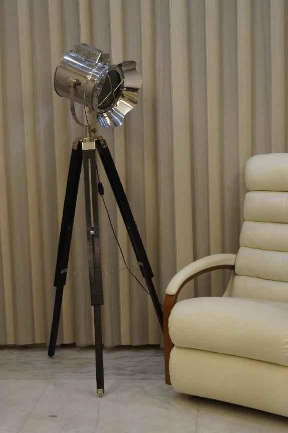 Tucasa Mango Wood Black Tripod Spot, Tripod Spotlight Floor Lamp The Range