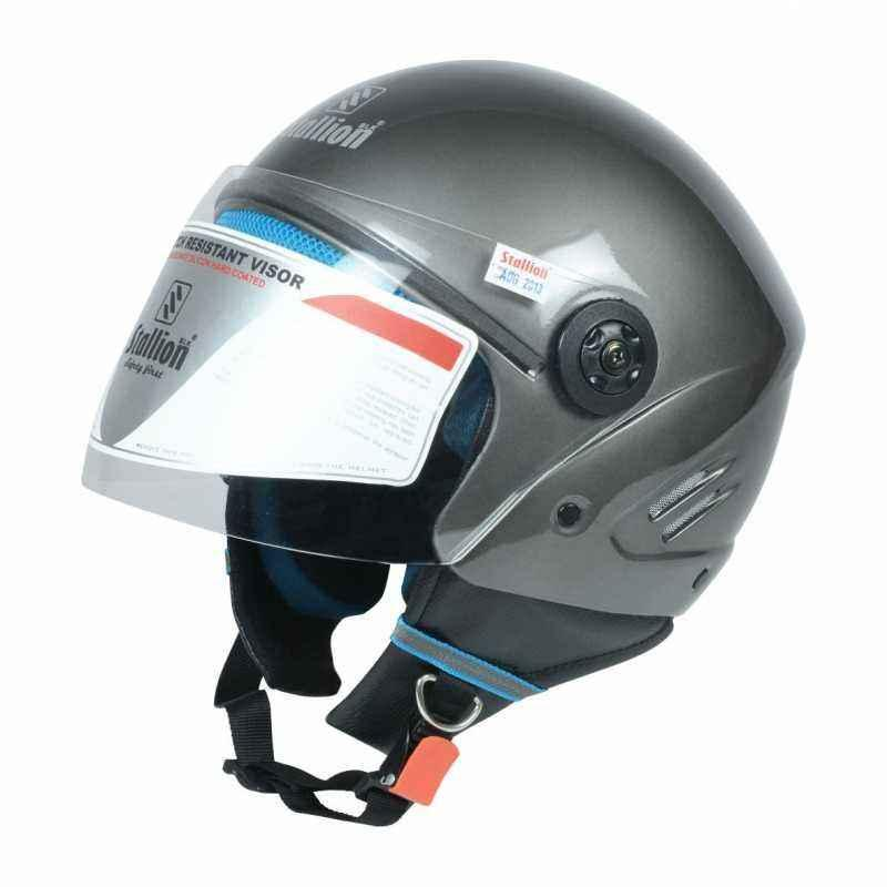 Stallion BLK K10 Open Face Grey Motorbike Helmet, Size: M