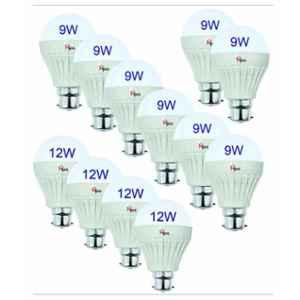 Homepro Combo of 8 Pieces 9W & 4 Pieces 12W White LED Bulbs